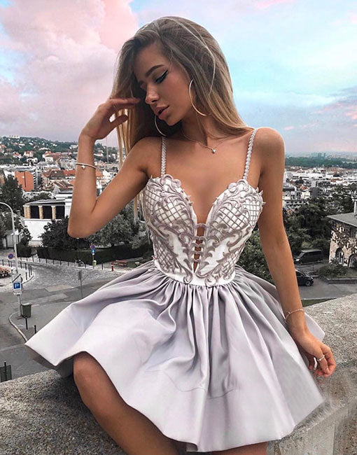 Cute gray sweetheart neck short prom dress, homecoming dress