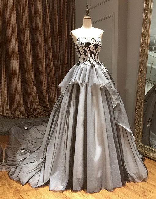 17ce7560fbe Gray sweetheart neck lace long prom dress