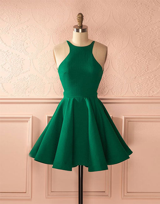 Cute green backless short prom dress, homecoming dress