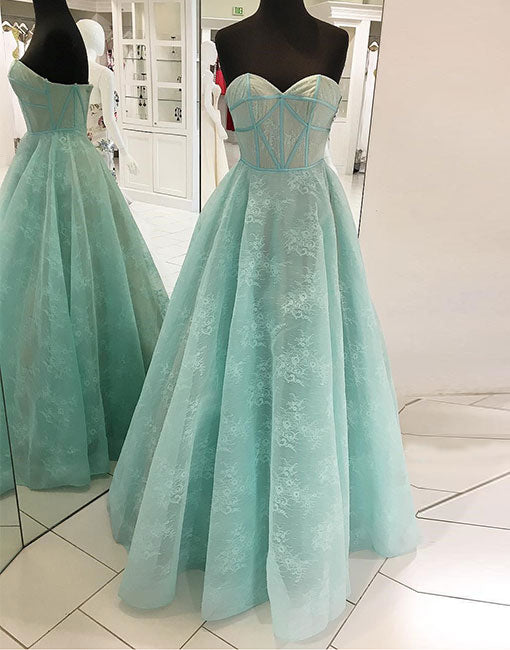 Mint green long prom dress, sweetheart neck evening dress