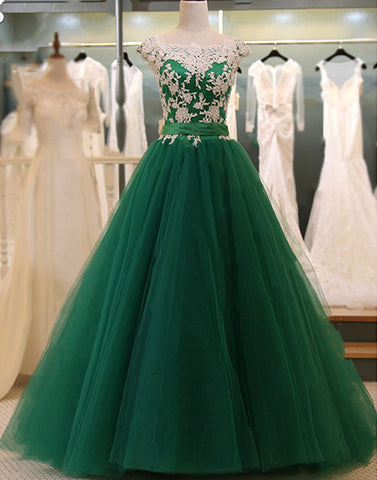 Green and white lace tulle long prom dress, evening dress