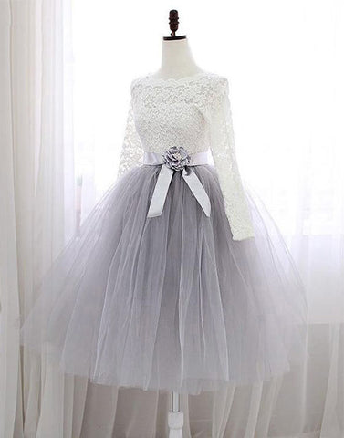 Gray lace short prom dress, long sleeve evening dress