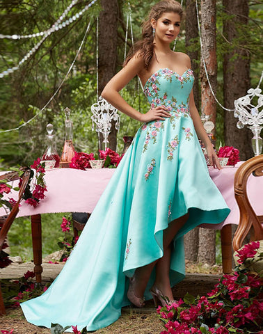 Cute sweetheart neck lace prom dress, high low evening dress