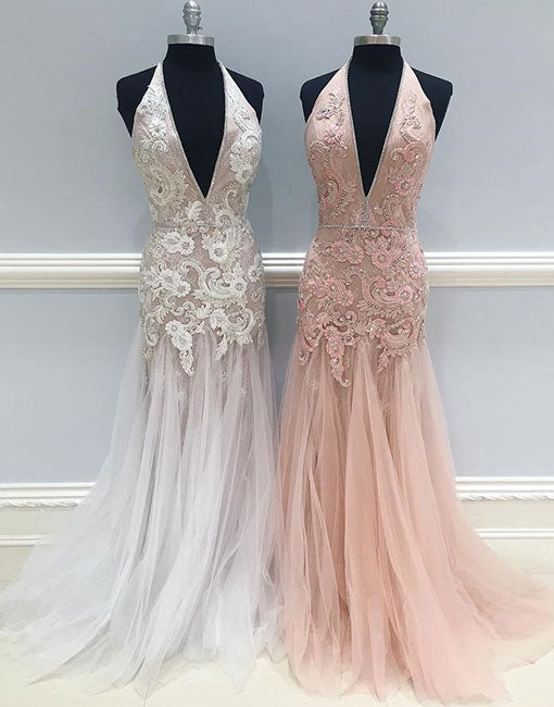 Mermaid lace tulle long prom dress, lace evening dress