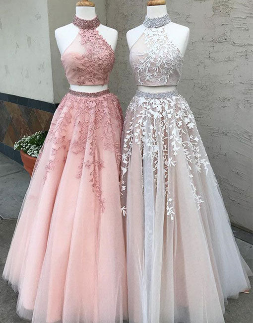 Custom Made Two Pieces Lace Long Prom Dress Lace Evening Dress Prom24