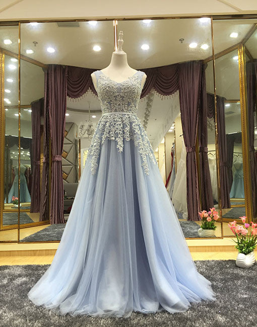 Elegant A line tulle lace long prom dress, lace evening dress