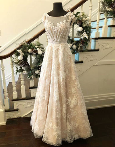 Custom made round neck lace long prom dress, evening dress