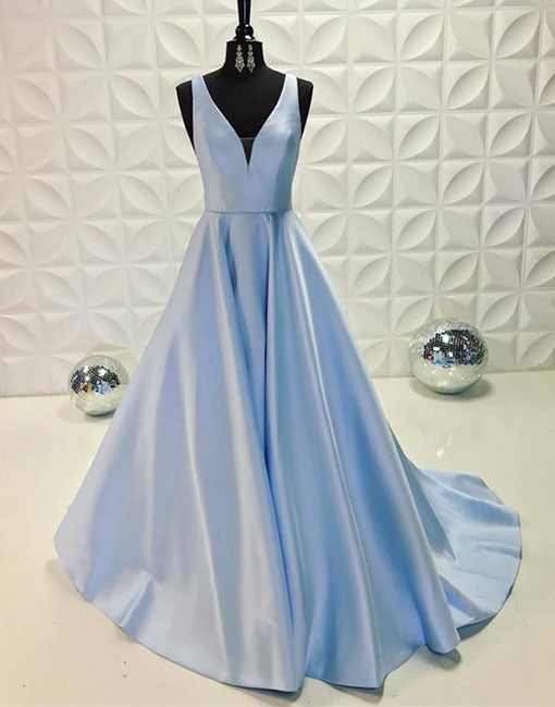 Light blue v neck long prom dress, blue evening dress