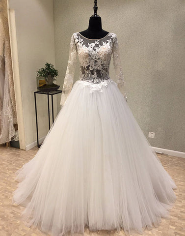 White lace tulle long prom dress, long sleeve evening dress