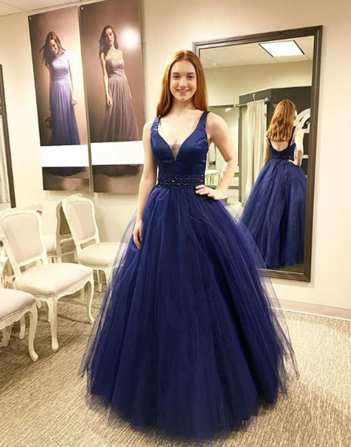 Dark blue v neck tulle long prom dress, blue evening dress