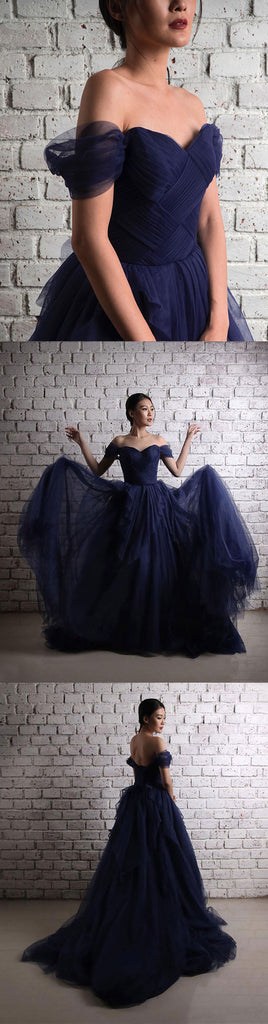 Dark blue tulle long prom dress, off shoulder evening dress