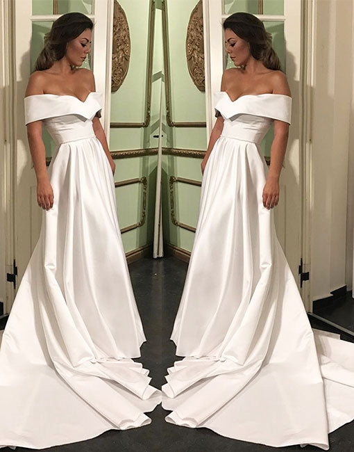 Simple white satin off shoulder long prom dress, white formal dress