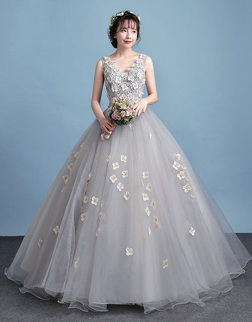 Gray tulle flowers long prom dress, gray evening dress