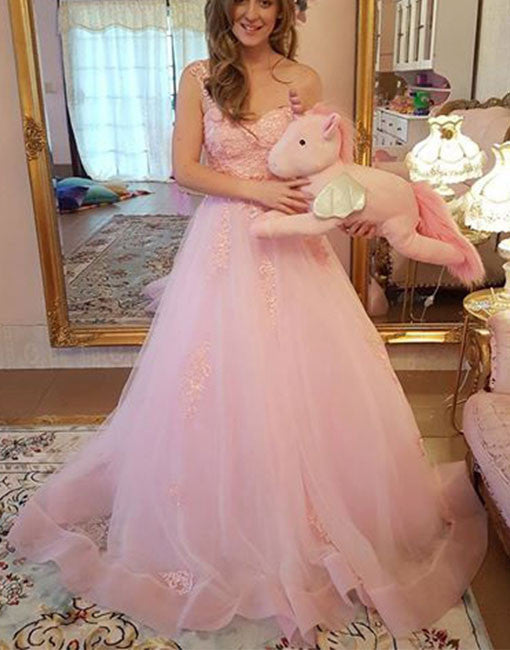 Pink sweetheart neck lace long prom dress, lace evening dress