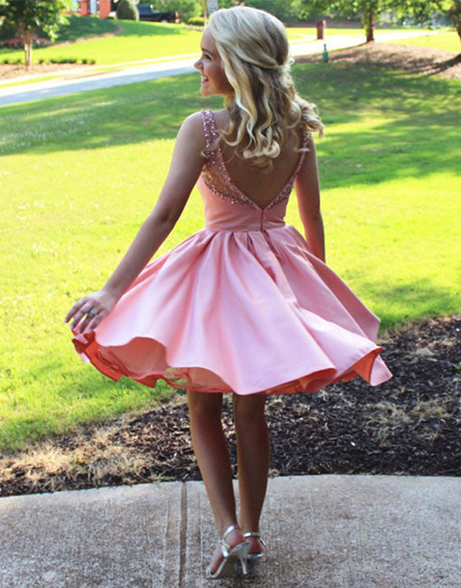 Cute A line pink short prom dress, homecoming dresses