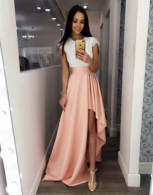 Cute White And Pink Lace High Low Prom Dress Fashion Dress For Girl