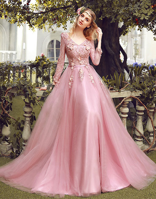 Pink v neck lace long prom dress, long sleeve evening dress
