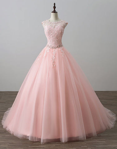 Pink lace tulle long prom dress, lace evening dress, sweet 16 dress