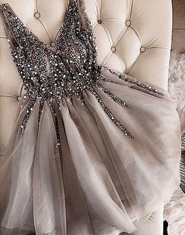 Gray v neck tulle beaded short prom dress, homecoming dress