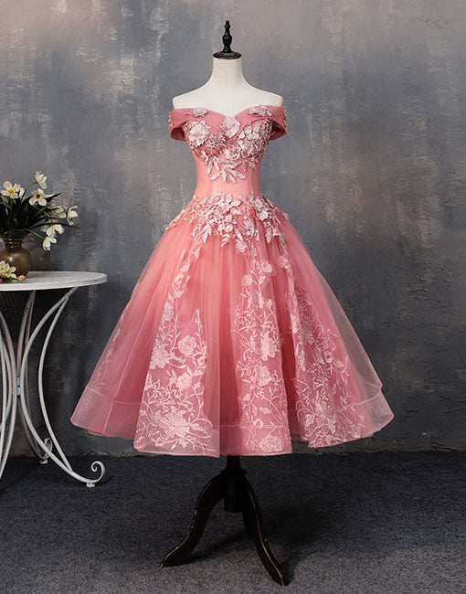 1576808bb63b Pink tulle lace off shoulder short prom dress