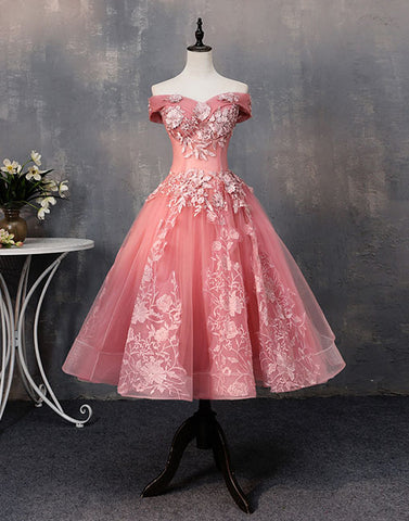 Pink tulle lace off shoulder short prom dress, homecoming dress