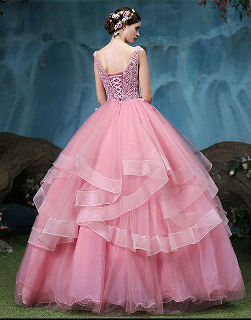 Pink round  neck lace tulle long prom dress, sweet 16 dress