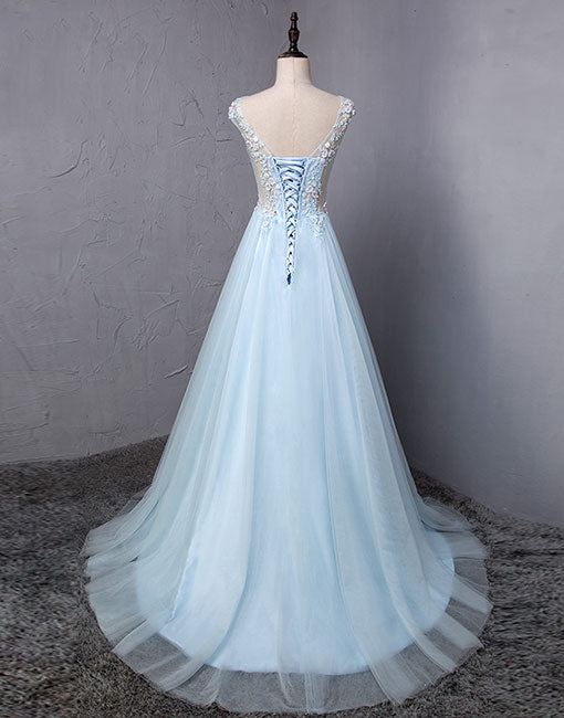 Light blue round neck lace long prom dress, evening dress