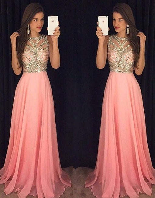 Sparkly crystal beaded pink round neck long prom dress, pink evening dress