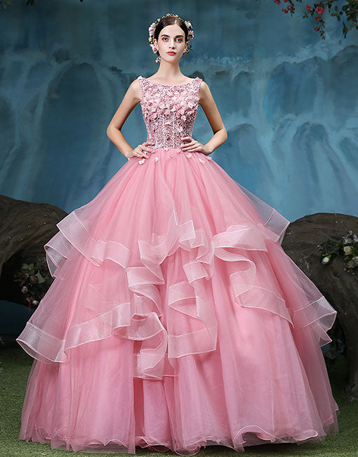 2406d201ff3 Pink round neck lace tulle long prom dress