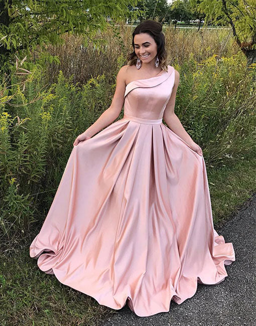 Pink satin one shoulder long prom dress, pink evening dress