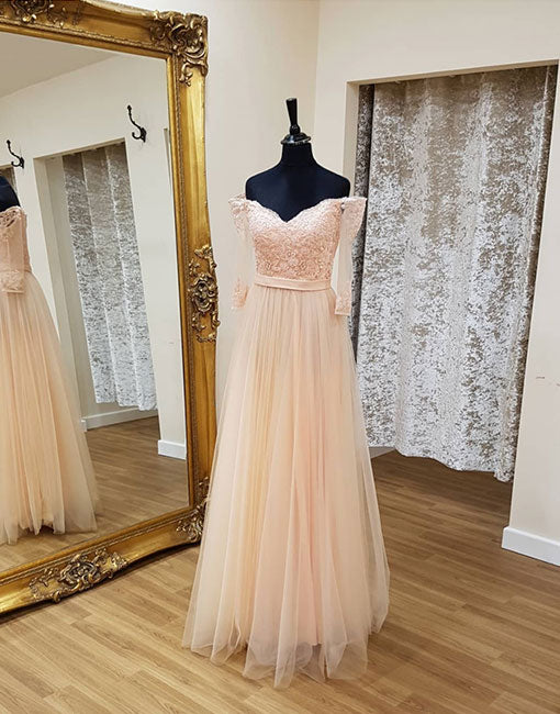 Light Pink Tulle Lace Long Prom Dress Long Sleeve Evening Dress