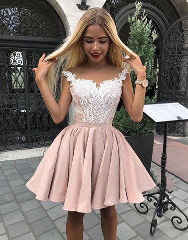 Pink lace satin short prom dress, homecoming dress