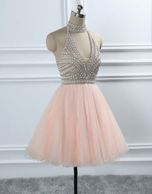 Cute pink round neck tulle short prom dress, pink evening dress