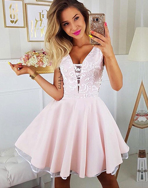 Cute pink v neck lace short prom dress, homecoming dress