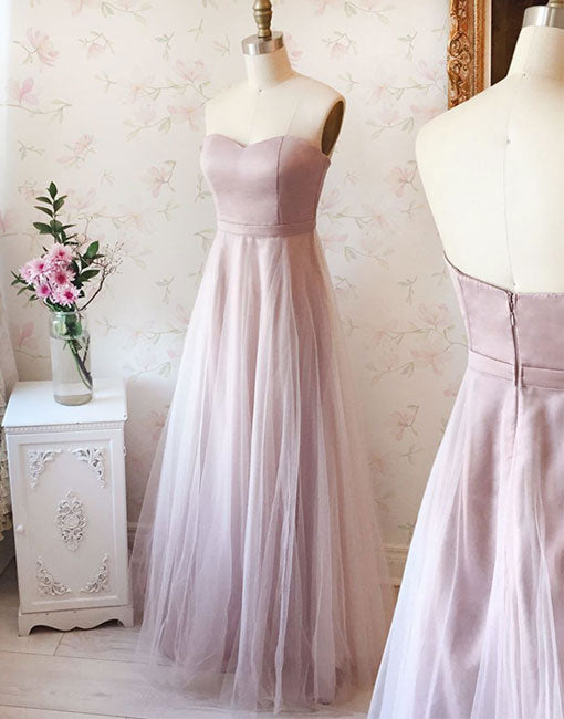 Pink sweetheart neck long prom dress, evening dress