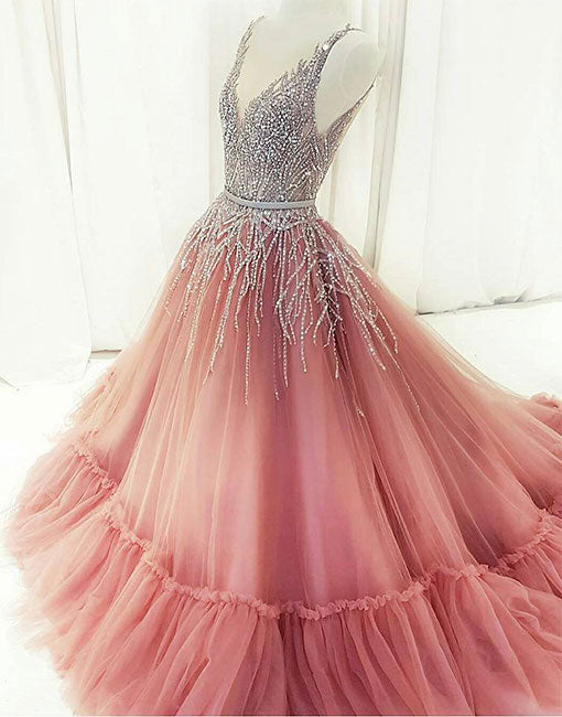 Custom made v neck tulle beaded long prom dress, pink evening dress