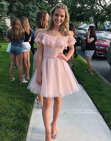 Pink lace short prom dress, homecoming dress