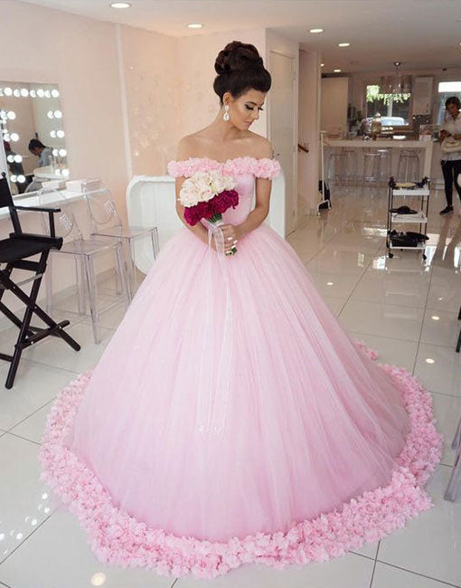 Unique pink tulle long prom dress, ball gown