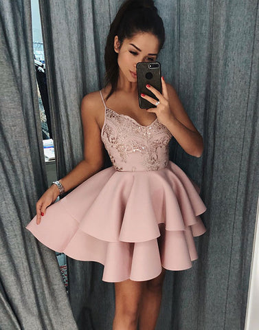 Pink v neck lace short prom dress, homecoming dress