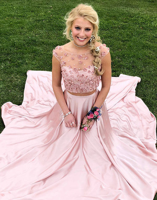 Pink two pieces long prom dress, pink evening dress