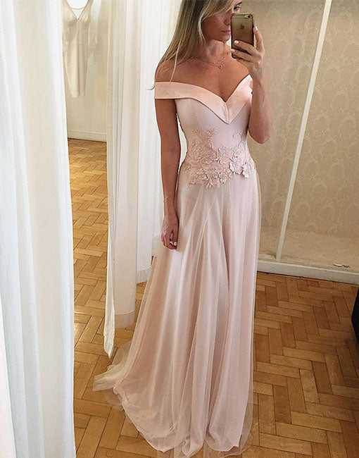 Unique light pink lace off shoulder long prom dress, lace formal dress
