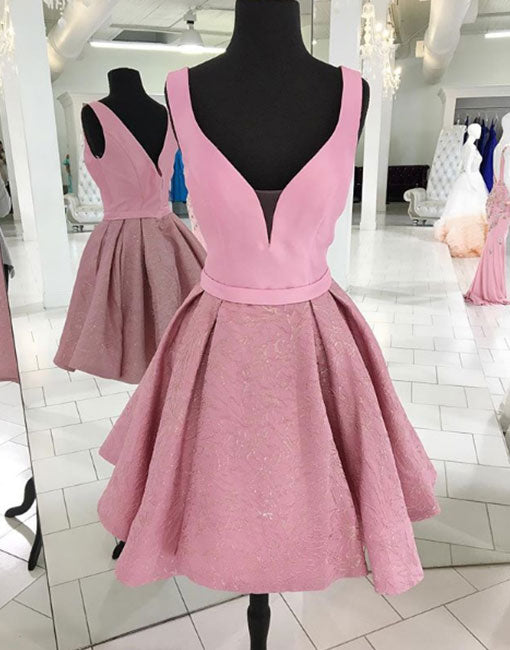Cute pink v neck short prom dress, homecoming dress