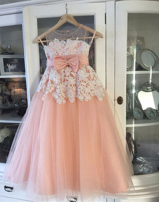 Pink tulle lace flower girl dress, baby dress