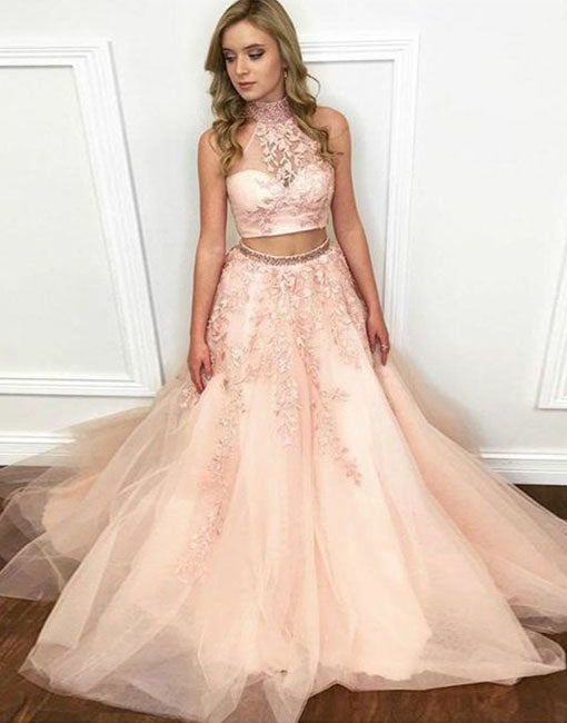 Light pink two pieces lace long prom dress, evening dress
