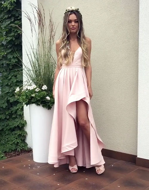 Simple pink v neck long prom dress, bridesmaid dress