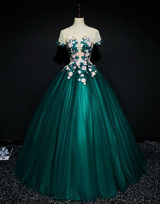 Green round neck lace long prom gown, green evening dress