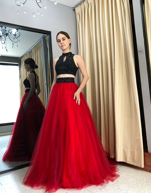 Stylish red two pieces tulle long prom dress, red evening dress