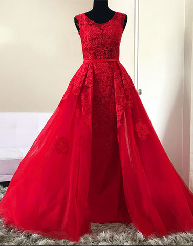 Red round neck lace tulle long prom dress, red evening dress