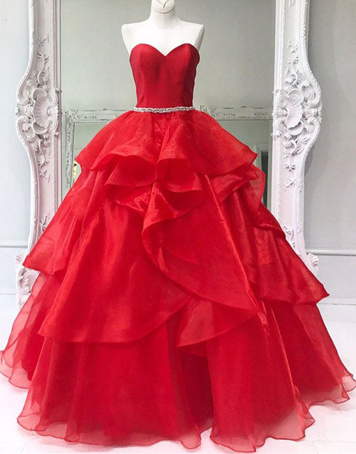 Red sweetheart neck tulle long prom dress, ball gown