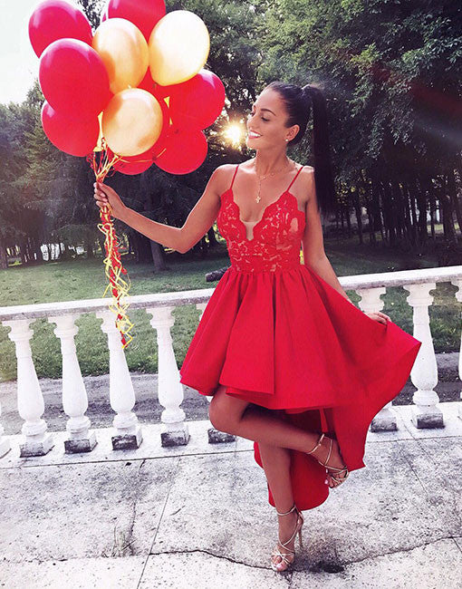 Cute red v neck lace high low prom dress, homecoming dress